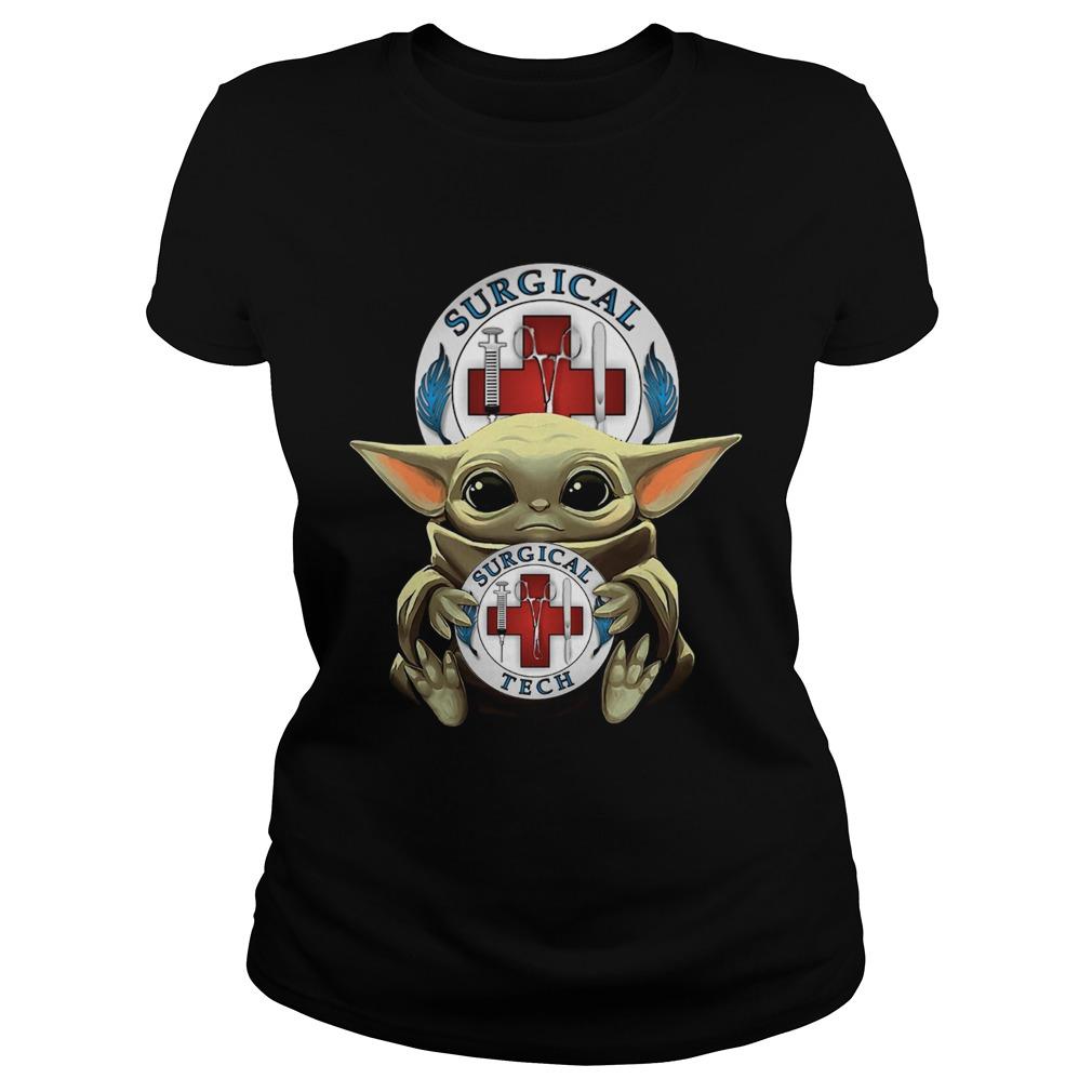 Baby Yoda Hug Surgical Tech  Classic Ladies