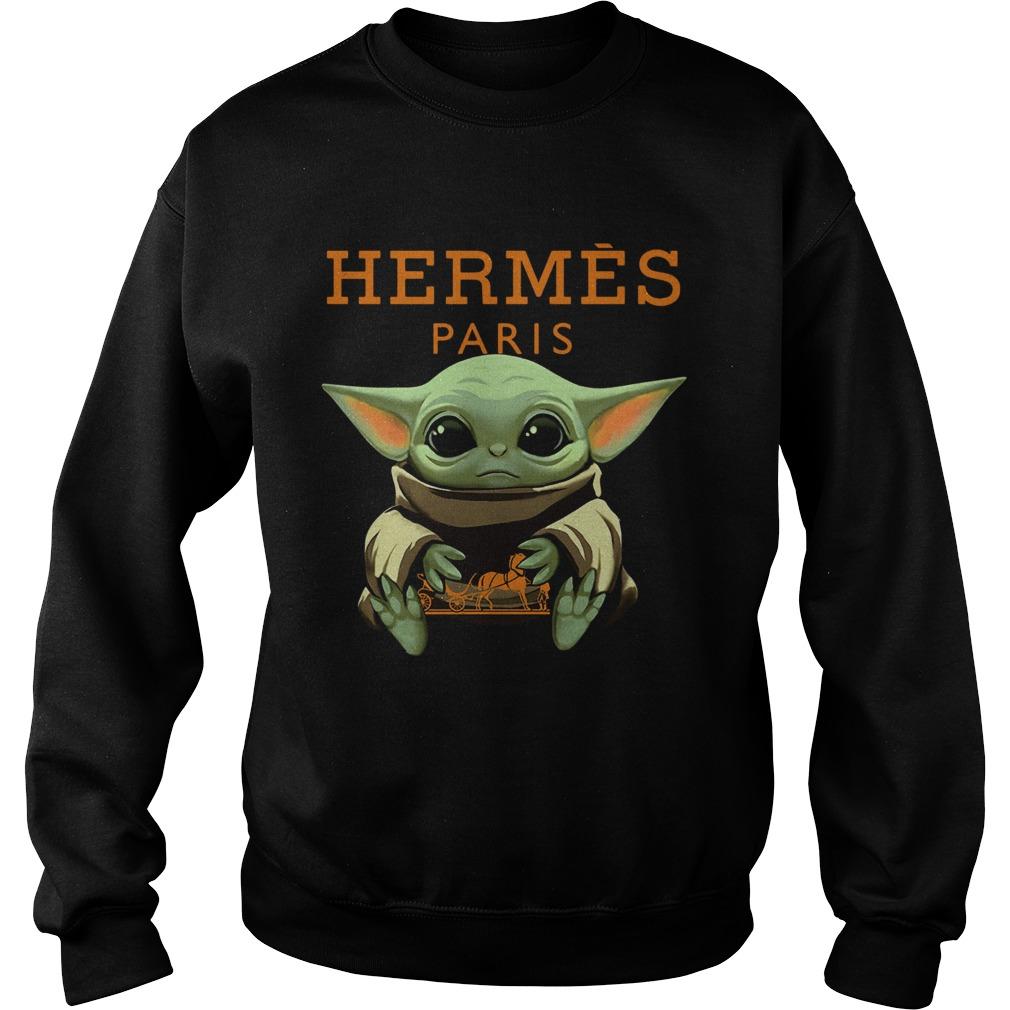 Baby Yoda Hugging Hermes Paris  Sweatshirt