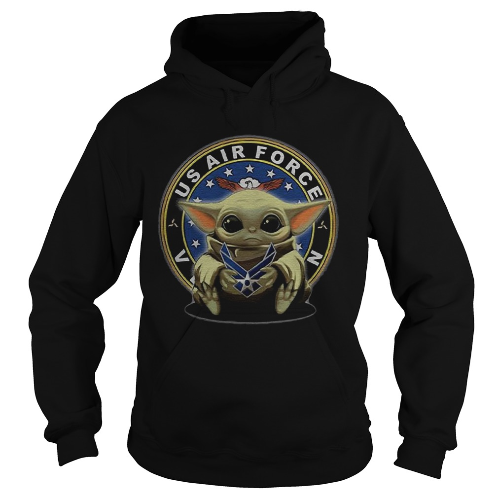 Baby Yoda Hugging Us Air Force Veteran  Hoodie