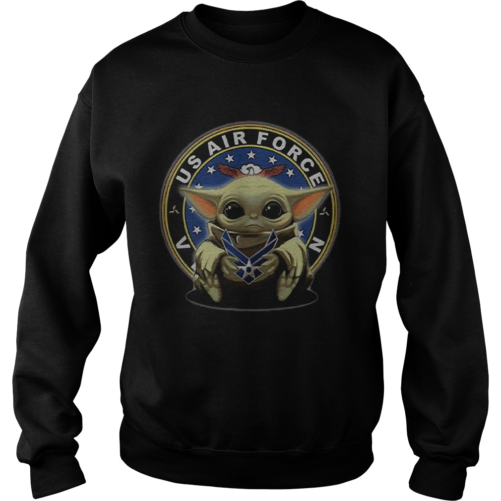Baby Yoda Hugging Us Air Force Veteran  Sweatshirt