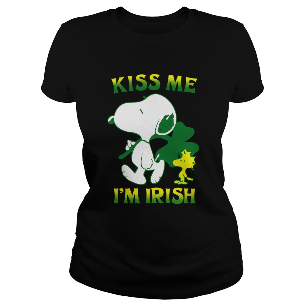 Snoopy And Woodstock Kiss Me Im Irish  Classic Ladies