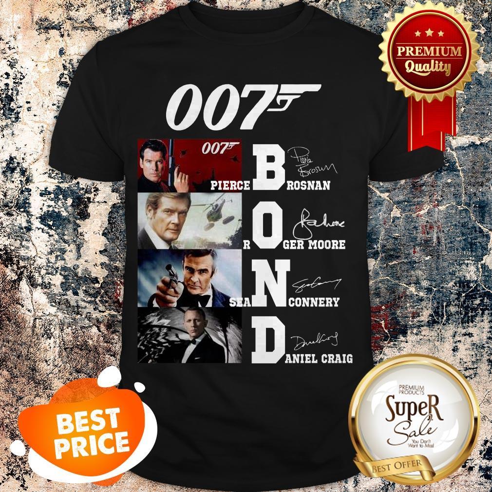007 James Bond Pierce Brosnan Roger Moore Sean Connery Signature Shirt