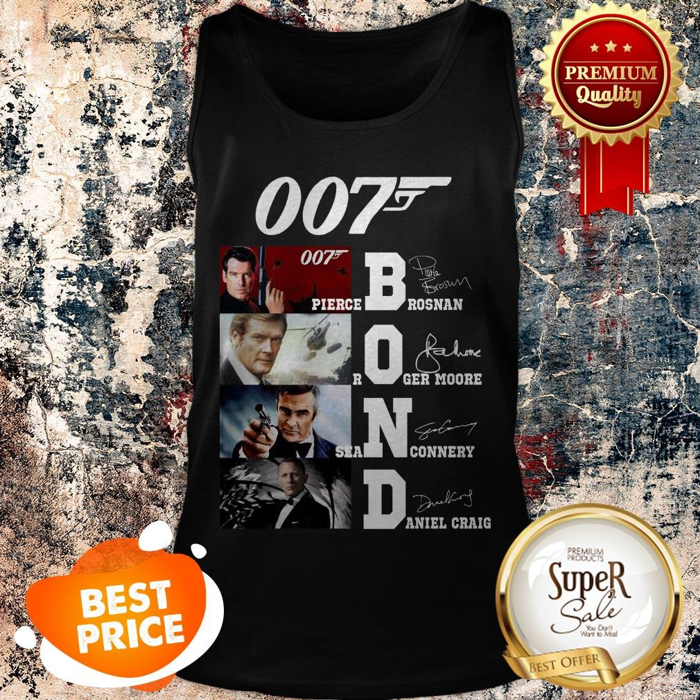 007 James Bond Pierce Brosnan Roger Moore Sean Connery Signature Tank Top