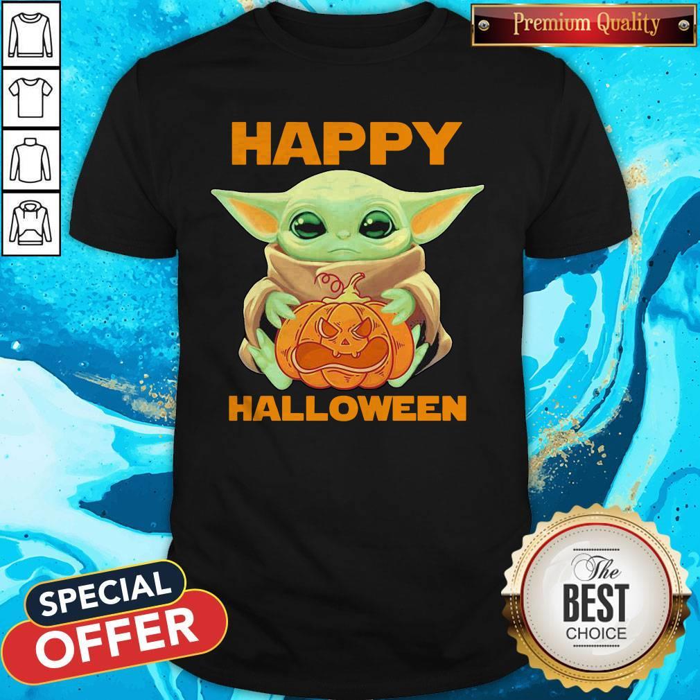 Super Nice Baby Yoda Hug Pumpkin Happy Halloween Shirt Hoodie Sweatshirt And Long Sleeve