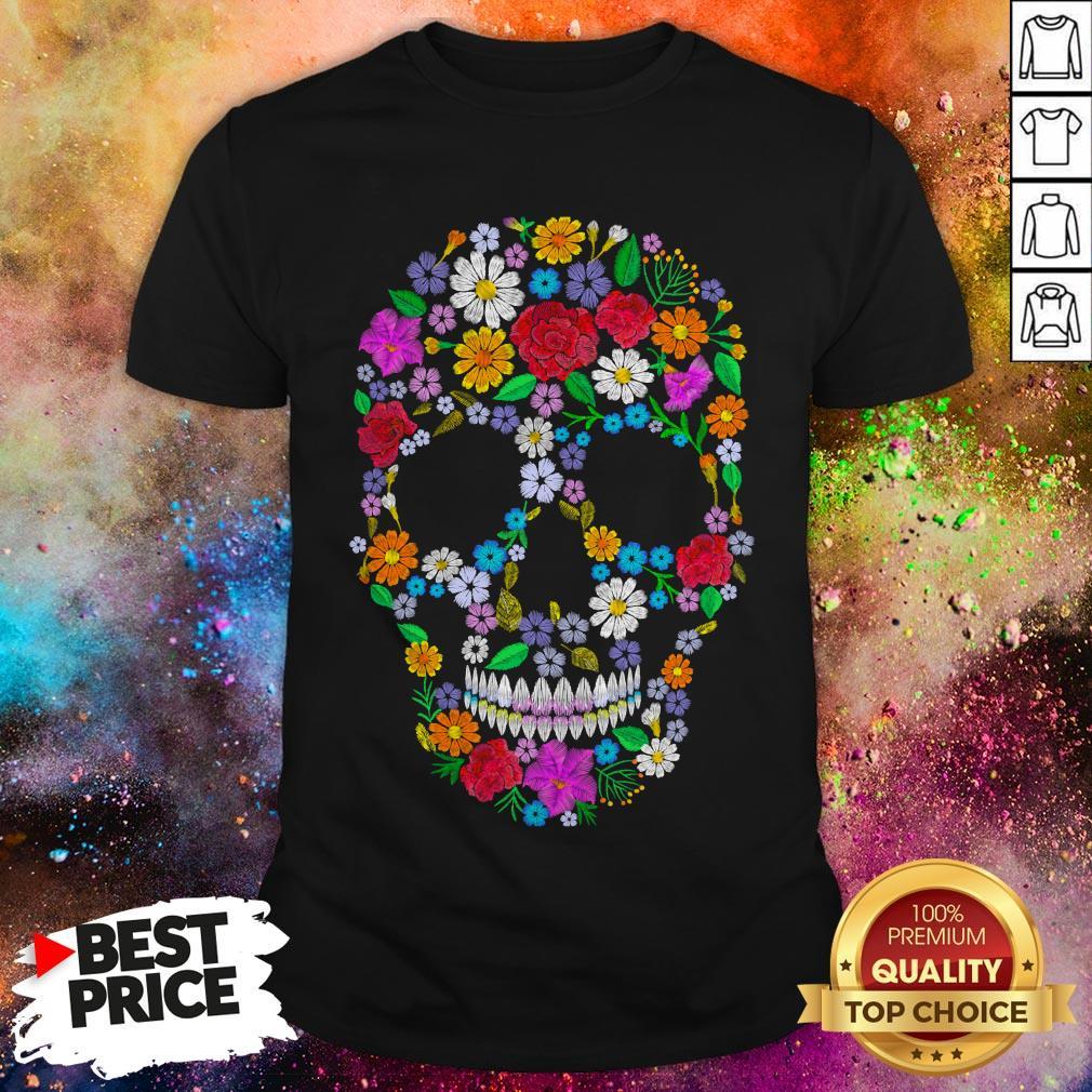 Sugar Skull Flower Day Of The Dead Shirt