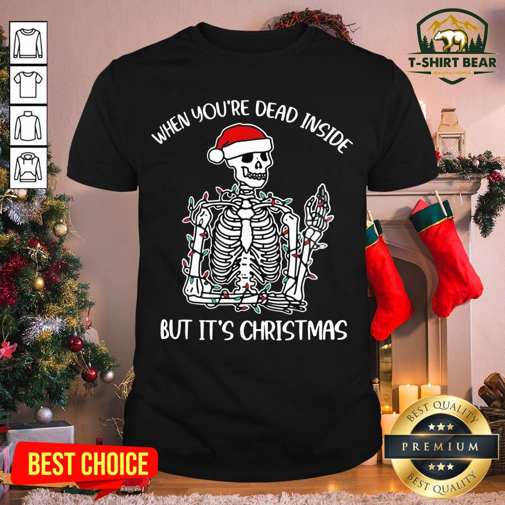 Colorful When You're Dead Inside But It's Christmas Skeleton Shirt - Design by T-shirtBear.com