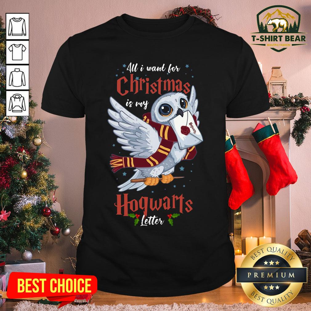 Official Owl All I Want For Christmas Is My Hogwarts Letter Shirt - Design by T-shirtBear.com