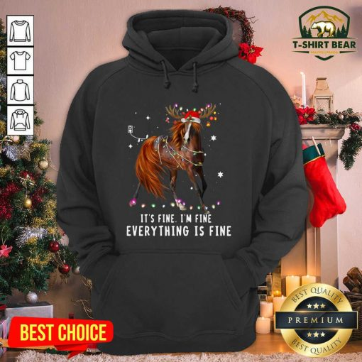 Horse Lover Christmas It's Fine I'm Fine Everything Is Fine Christmas Hoodie - Design by T-shirtbear.com