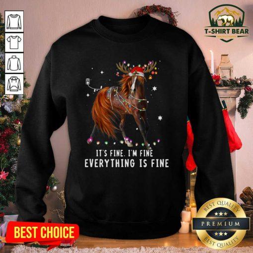 Horse Lover Christmas It's Fine I'm Fine Everything Is Fine Christmas Sweatshirt - Design by T-shirtbear.com