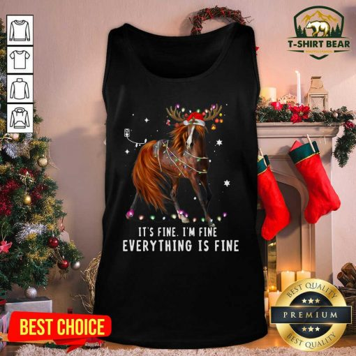 Horse Lover Christmas It's Fine I'm Fine Everything Is Fine Christmas Tank Top - Design by T-shirtbear.com
