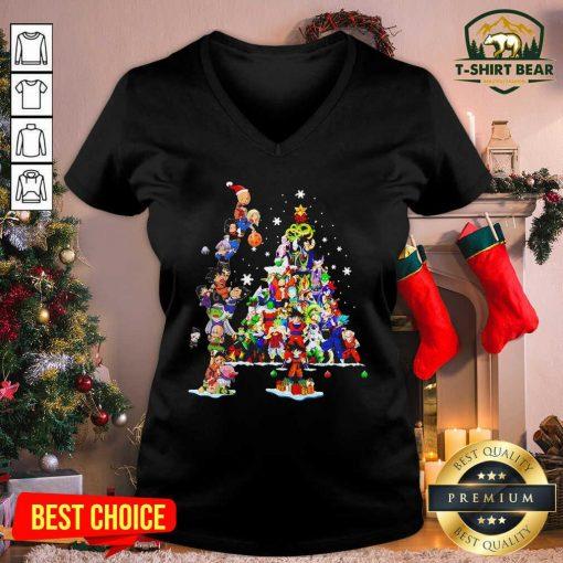 Dragon Ball Z Character And Christmas Tree 2020 V-neck - Design by T-shirtbear.com