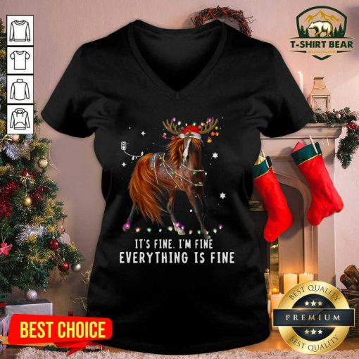 Horse Lover Christmas It's Fine I'm Fine Everything Is Fine Christmas V-neck - Design by T-shirtbear.com