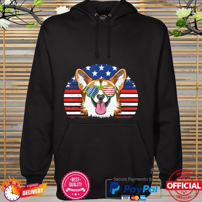 CorgiLove Distressed Us American Flag hoodie