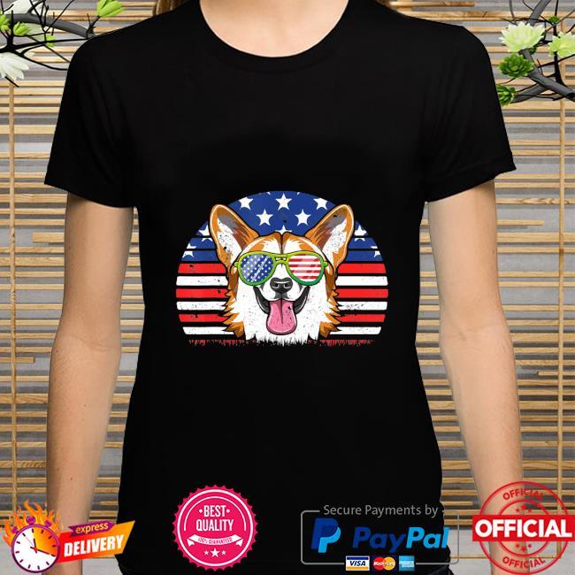 CorgiLove Distressed Us American Flag shirt