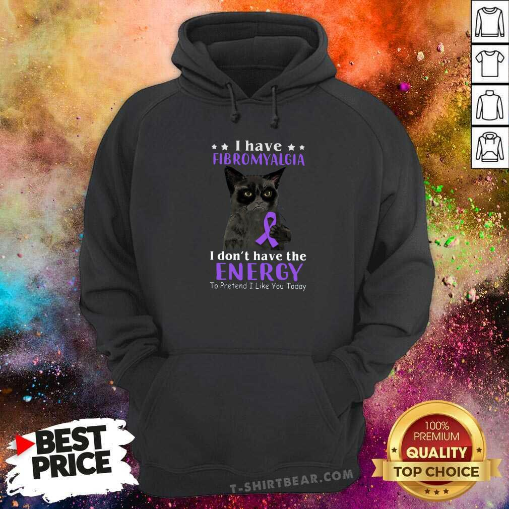 Grateful I Have Fibromyalgia Black Cat Hoodie - Design by T-shirtbear.com
