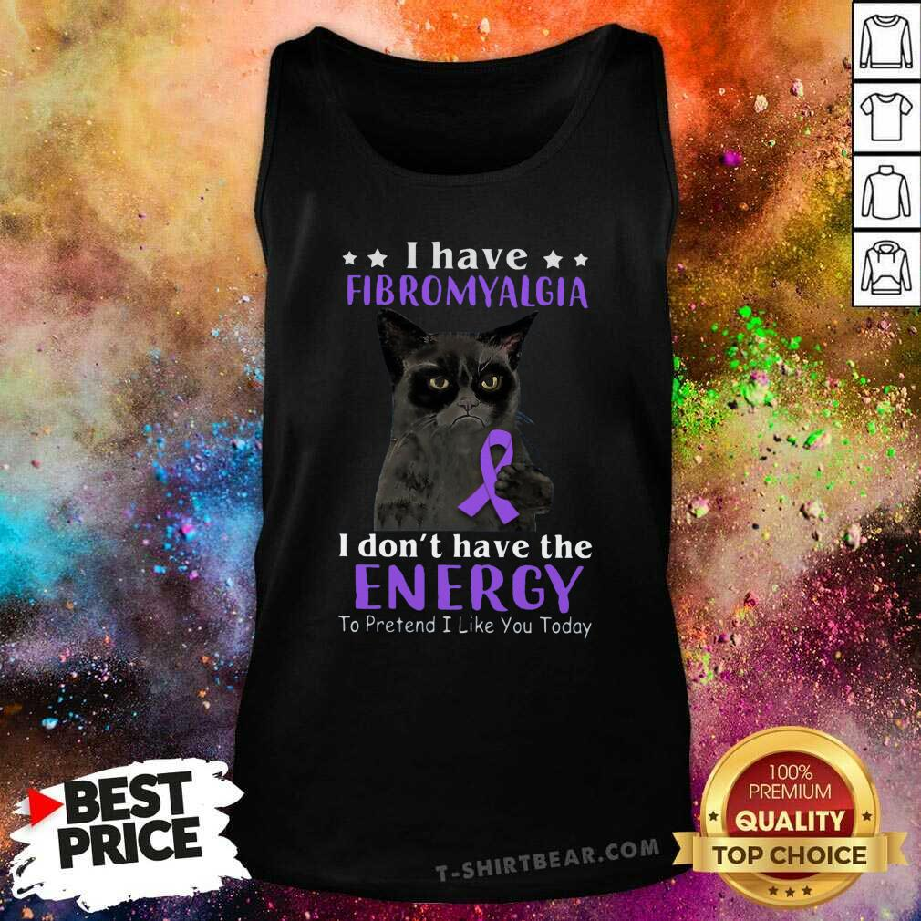 Grateful I Have Fibromyalgia Black Cat Tank Top - Design by T-shirtbear.com
