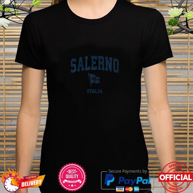 Salerno Italy Vintage Sports Navy Boat Anchor Flag shirt