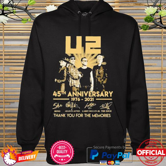 Best 45th anniversary U2 1976-2021 signatures thank you for the memories hoodie