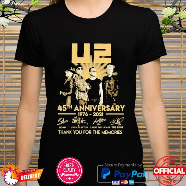 Best 45th anniversary U2 1976-2021 signatures thank you for the memories shirt