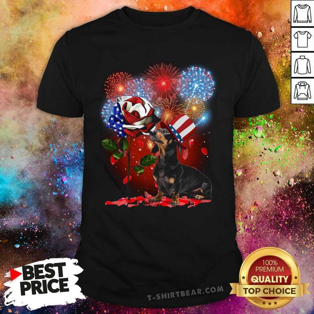 Dachshund American Flag Rose Fireworks Shirt - Design by T-shirtbear.com