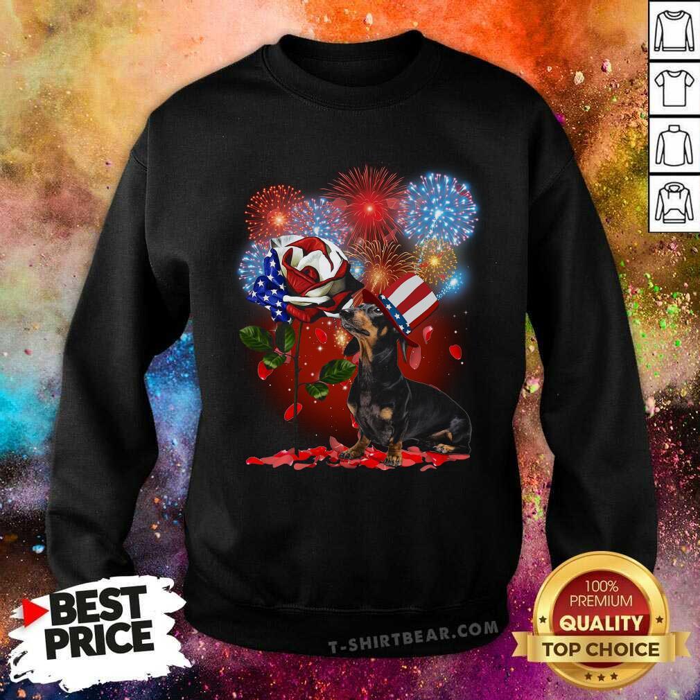 Dachshund American Flag Rose Fireworks Sweatshirt - Design by T-shirtbear.com