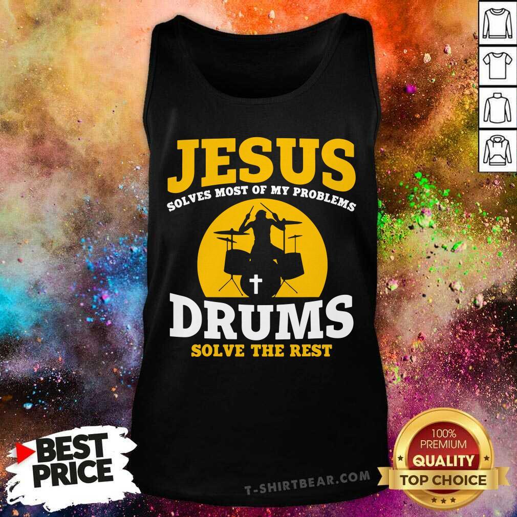 Jesus Drums Solve The Rest Tank Top - Design by T-shirtbear.com