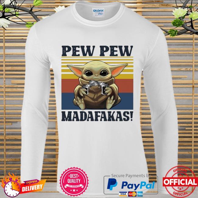 Official Baby yoda guns pew pew madafakas vintage Long sleeve