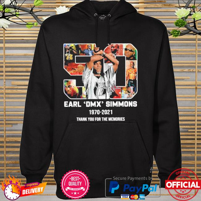Official earl dmx simmons 1970-2021 signature thank you for the memories hoodie