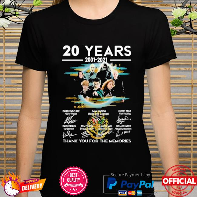 Official harry potter 20 years 2001-2021 signatures thank you for the memories shirt