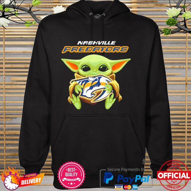 Star wars baby Yoda hug nhl nashville predators hoodie