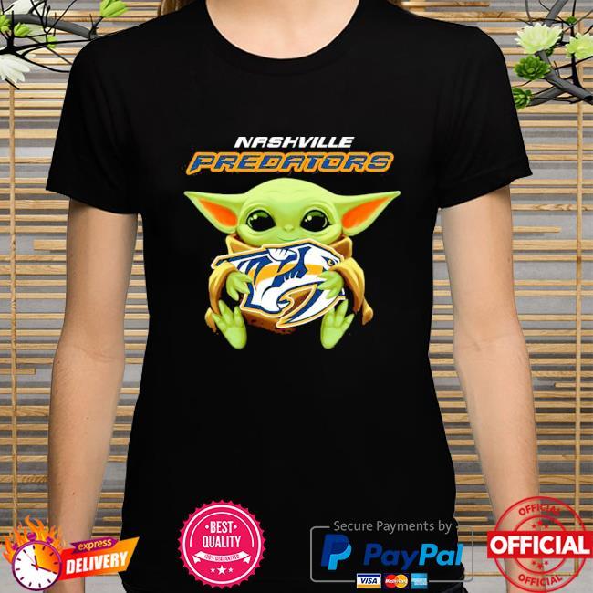 Star wars baby Yoda hug nhl nashville predators shirt