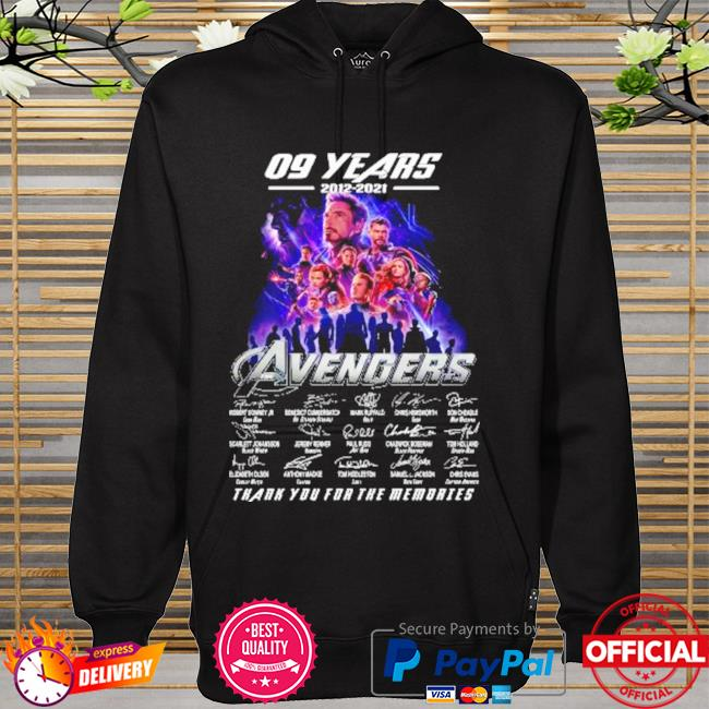 The avengers assemble 09 years 2012-2021 signatures thank you for the memories hoodie