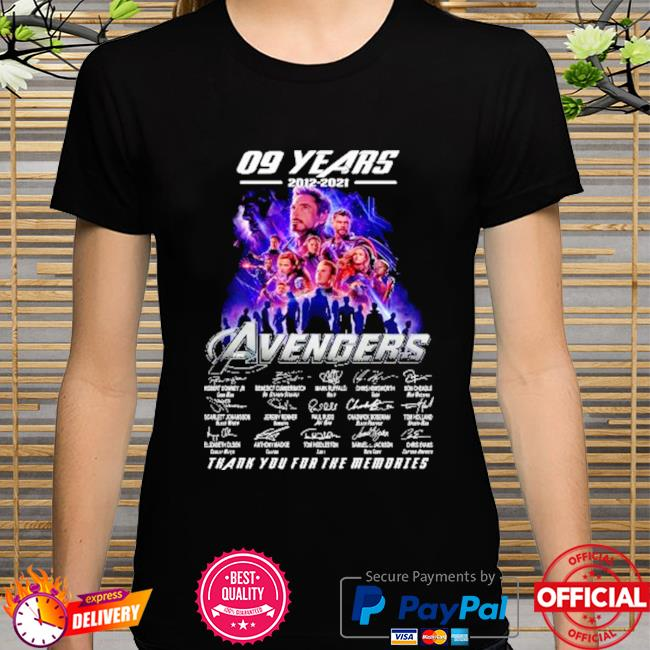 The avengers assemble 09 years 2012-2021 signatures thank you for the memories shirt